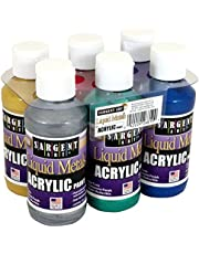 Sargent Art 22-6819 Liquid Metals 4 oz Metallic Acrylic Paints, 6 Colors