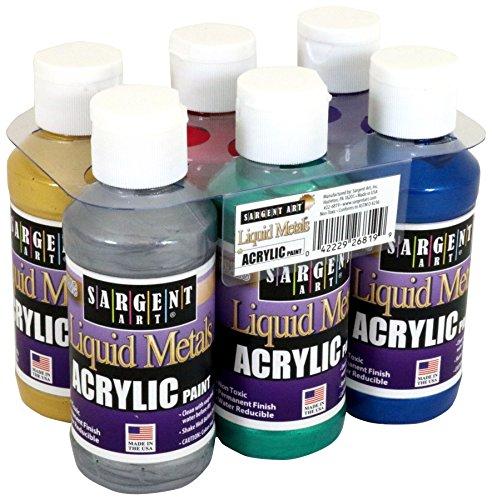 Sargent Art 22-6819 Liquid Metals 4 oz Metallic Acrylic Paints, 6 Colors