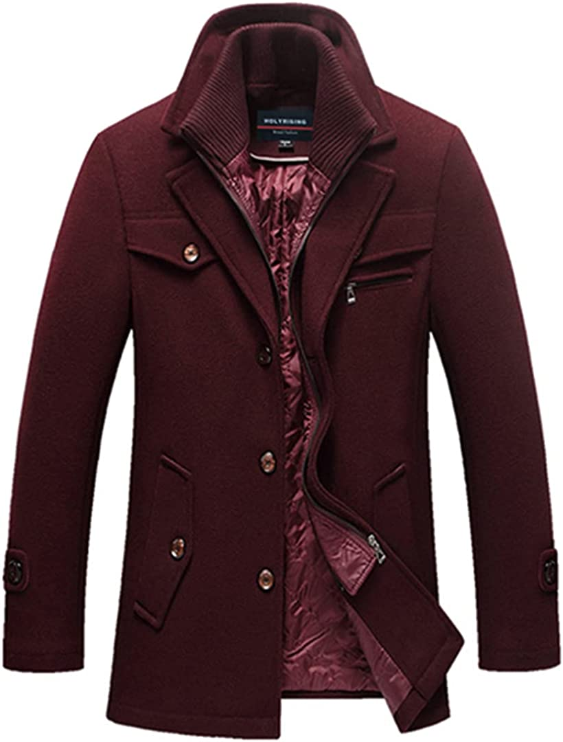 Men Wool Coat Thick Mens Coats And Jackets Warm Pea Coat Male Business Overcoat 4 Color Wool Blends