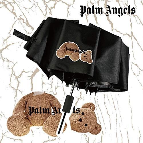 Paraguas de palmera con diseño de oso de palmera, para hombres y mujeres, color rojo, doble protección solar, plegable, diseño de oso