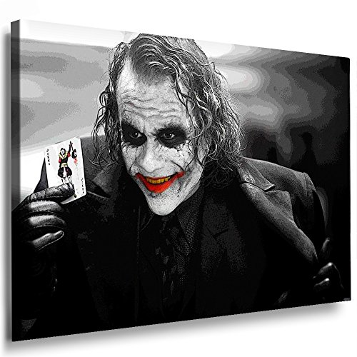 Boikal / Leinwand Bild Joker - Film Batman Heath Ledger Leinwanddruck, Kunstdruck fm30 Wandbild 100 x 70 cm