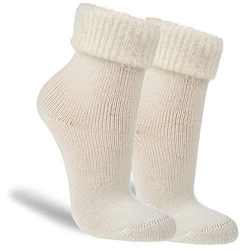 NewwerX 3 Paar Flausch-Söckchen, Baumwoll-Socken für Damen, Kuschelig warm & flauschig (Weiß, 39-42, numeric_39)