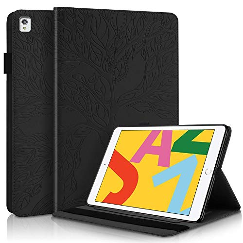 YYLKKB For Embossed 3D Tree Cover For iPad 8th Generation Case PU Leather Tablet For iPad 8 7 7th 8th Gen 10.2 Case 2020 2019 Air 3 10.5-Black_For IPad 10.2 2020
