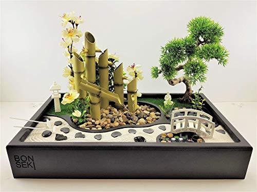 Bonseki® Fontana Zen da Interno con Giardino Zen 50 x 30 cm in Legno. Artigianale, Personalizzabile, Scopri le Opzioni.