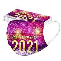 AXBdoll マスク 使い捨てマスク 不織布マスク 大人用マスク 新年マスク 2021 花柄マスク 家庭用マスク 2021シリーズ 2021 Happy New Year 大人用サイズ 三層構造 高密度フィルター 通気性 防塵マスク 快適 綺麗 ファッション 通学 通勤 お出かけ安心 PM2.5対策 男女兼用 (50枚入, 2021-E)
