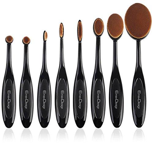 Ovale Set de pinceaux à maquillage, 8 Pinceaux Maquillage Crème Fond De Teint Correcteur Estompeur à blush poudre liquide, Brosse à dents courbe Outils de maquillage (A)