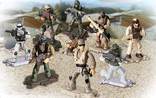 Brigamo 8 Stück Actionfiguren Special Forces Soldaten Figuren inkl. Waffen, 8 cm Spielzeug Figuren
