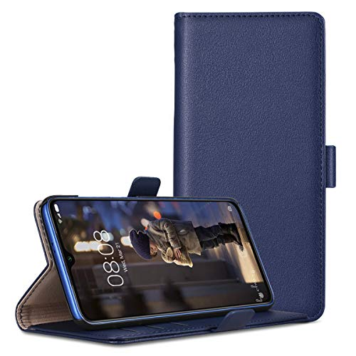 RuiPower Kompatibel für Xiaomi Mi 9 SE Hülle Handyhülle Schutzhülle Leder PU Wallet Flip Hülle Bumper Lederhülle Ledertasche Klapphülle Klappbar Magnetisch Ultra Dünn Slim Silikon - Blau
