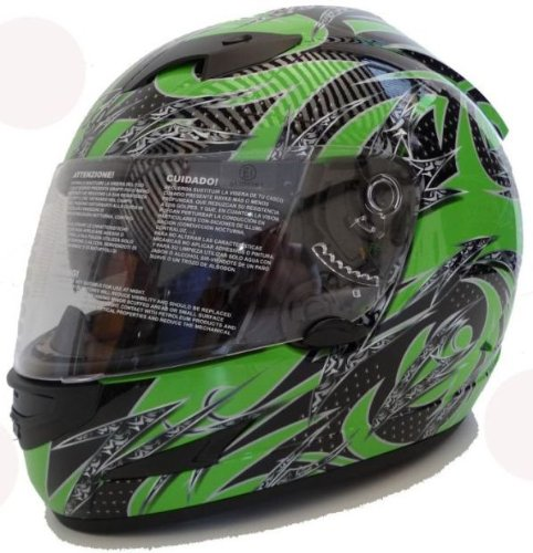 Motorradhelm Motorrad Helm Grün Schwarz Gr. L