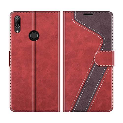 MOBESV Handyhülle für Huawei Y7 2019 Hülle Leder, Huawei Y7 2019 Klapphülle Handytasche Hülle für Huawei Y7 2019 Handy Hüllen, Modisch Rot