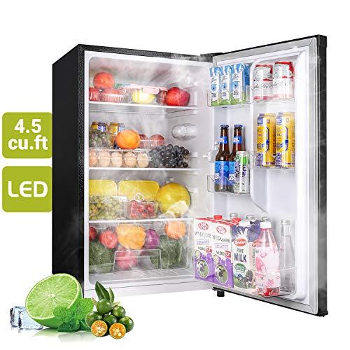 Compact Refrigerator, 4.5Cu.Ft(128L), TECCPO, Mini Fridge with LED Light, Energy Star, Super Quiet, Reversible Door, Small Refrigerator, for Dorm, Bedroom, Office, Kitchen, Apartment, Black-TAMF09