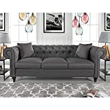 Divano Roma Furniture Classic Sofas, Large, Light Grey