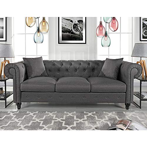 Divano Roma Furniture Classic Large Sofa | Light Grey