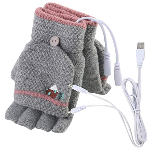 Unisex Women's & Men's USB Heated Gloves Mitten Winter Hands Warm Laptop Gloves,Yinuoday Full & Half Heated Fingerless Heating Knitting Hands Warmer Washable Design (Women Grey)