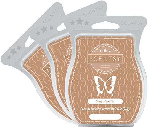 Scentsy, Simply Vanilla, Wickless Candle Tart Warmer Wax 3.2 Oz Bar, 3-pack (3)