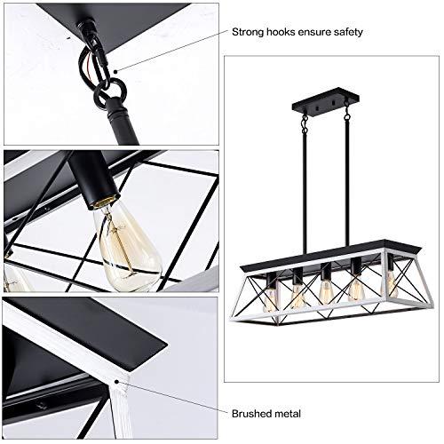 XIPUDA 5-Light Linear Pendant Light Fixture Kitchen Island Lighting Industrial Metal Farmhouse Chandeliers for Dinning Room Living Room