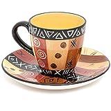 Juego de té y platillo de cerámica de comercio justo, juego de té con estampado africano Safari dorado, apto para lavavajillas, para uso general o como adornos para el hogar, Kapula