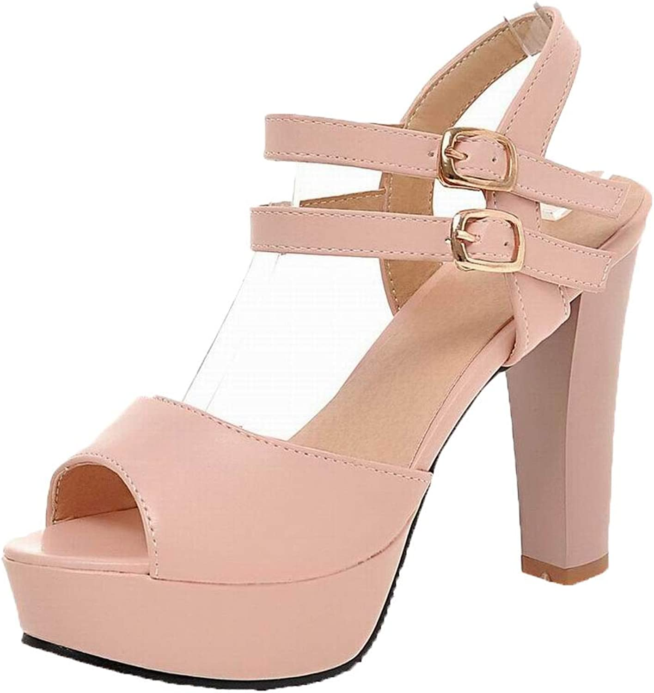 WeenFashion Women's Buckle High-Heels Pu Solid Open-Toe Sandals, AMGLX010323