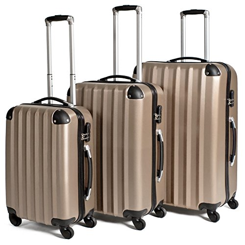 TecTake Trolley Valigia valigie Set Rigido Borsa 3 pz. - Disponibile in Diversi Colori - (Champagne)