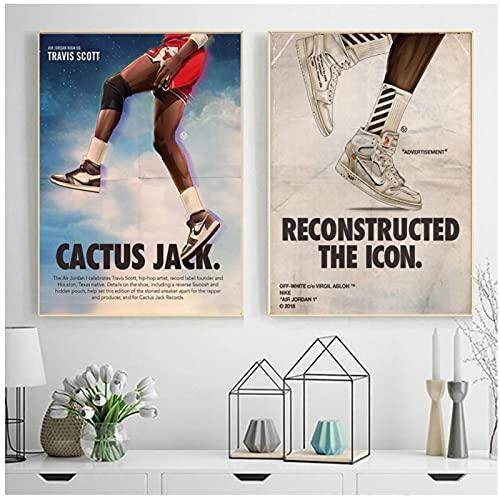 Impresión de lienzo, zapatillas de deporte de colaboración de Travis Scott, carteles de lienzo, cuadro artístico de pared para la decoración del hogar de la sala de estar, sin marco