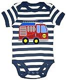 HARIZ Baby Body Streifen Feuerwehr Auto Auto Polizei Inkl. Geschenk Karte Weiß/Navy Blau 6-12 Monate