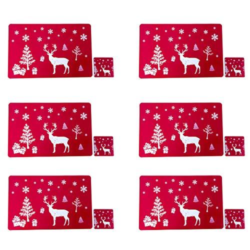 JUSTDOLIFE 6PCS Tovaglietta Natalizia Tovaglietta Natalizia Decorativa Creativa Con 6 Tappetini Per Tazza