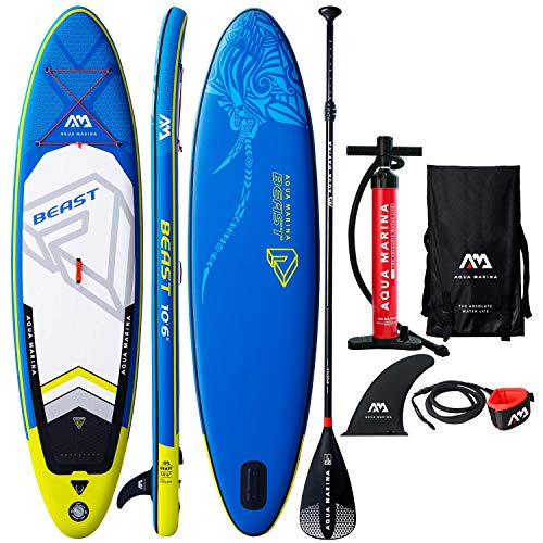 "Aqua Marina Beast 10'6"" Inflatable Stand Up Paddle Board (6"" Thick) with Double Action Pump, Magic Backpack, Slide-in Center Fin, Sports III Paddle, Safety Leash, 2019 Upgrade Bundle"