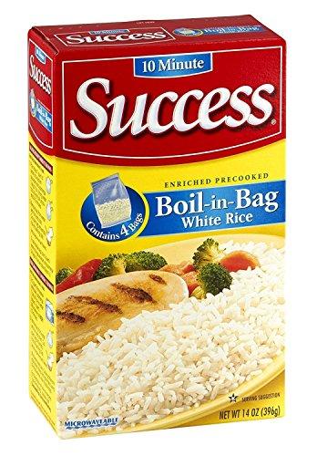 Success Rice 10 Minute BoilinBag Natural Long Grain White Rice 14oz Box Pack of 4