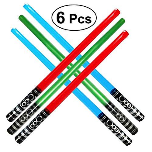 Toyvian Aufblasbares Schwert 100CM - Leuchten Säbel Spielzeug, Party Favor, Spiel Schwert Set 6Pcs