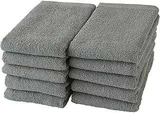GamachaTowel 22色から選ぶフェイスタオル10枚セット 薄手 速乾 綿100% バングラデシュ製 高吸水 耐久性 65g(210匁) 約34×80cm (グレー)