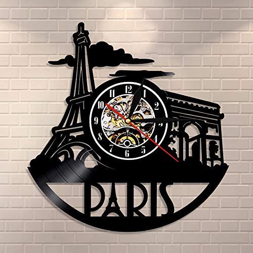 Enofvd Paris City View Wanduhr Tower Vinyl Schallplatte Wanduhr Paris Gate Home Decoration Love City Travel Wanduhr 12 Zoll
