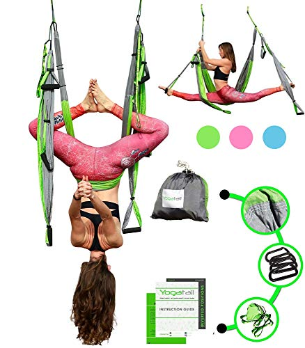 YOGATAIL Aerial Yoga Swing  New Edition Gym Strength Antigravity Yoga Hammock  Inversion Trapeze Sling Equipment Perfect Yoga Gift  Blue Pink Grey Swings amp Beginner Instructions Green