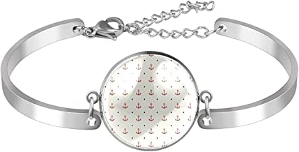 Verstelbare Armband unieke Rode Nautische Badge Navy Dot Patroon voor vrouwen Roestvrij staal