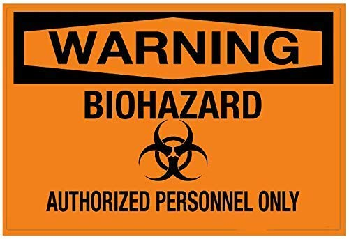 Mesllings Señal de Seguridad de Metal con Advertencia de Peligro biológico – Solo Personal Autorizado 20 x 30 cm