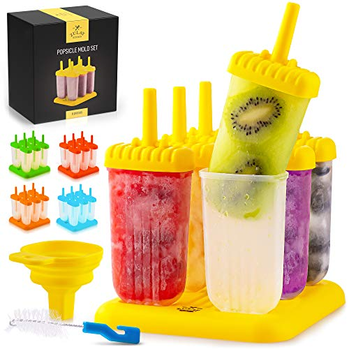 Zulay Kitchen Popsicle Molds with Sticks - 6-Piece BPA Free Reusable Popsicle and Ice Pop Molds with Drip Guard - Easy Release Ice Popsicle Maker Mold Set with Tray, Funnel & Brush (Yellow)