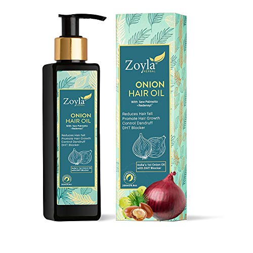 Zoyla Herbal Red Onion Hair Oil for Hair Growth & Hair Fall Control with Redensyl & DHT blocker for Men & Women 200 ML