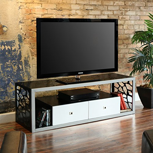 Hot Sale WE Furniture Black Glass Modern Mosaic TV Stand, 60-Inch
