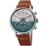 Joshua & Sons Chronograph Halograph Men's Watch - Unique Time Reading Upper Half of Watch with Chronograph Subdials showing Second, Minute and 24 Hour on Leather Strap - JX152 (Brown)