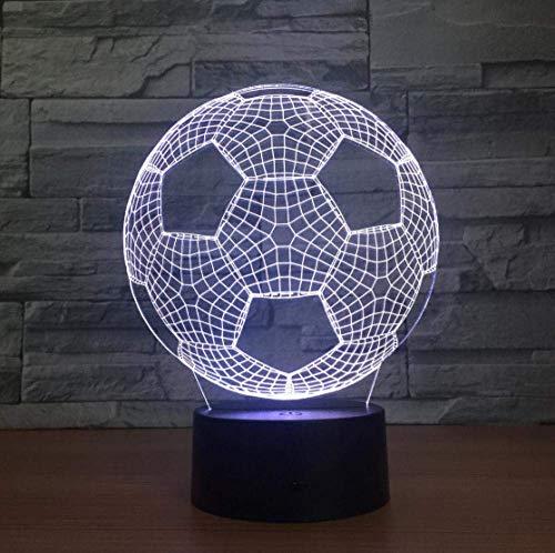 Ilusión 3D Luz De Noche Luz De Humor Forma De Fútbol Lámpara De Mesa Led Usb 7 Colores Intermitente Interruptor Táctil Decoración De Dormitorio Luz Regalo Para Niños