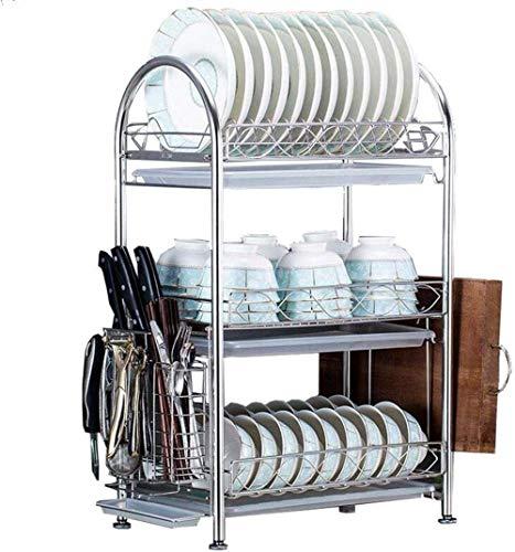 HFTD Conveniencia 304 Rack de Acero Inoxidable Suministros Escurridor de Platos Estante de Cocina para el hogar Platos de Aire Platos Estante de Almacenamiento de Platos Duradero