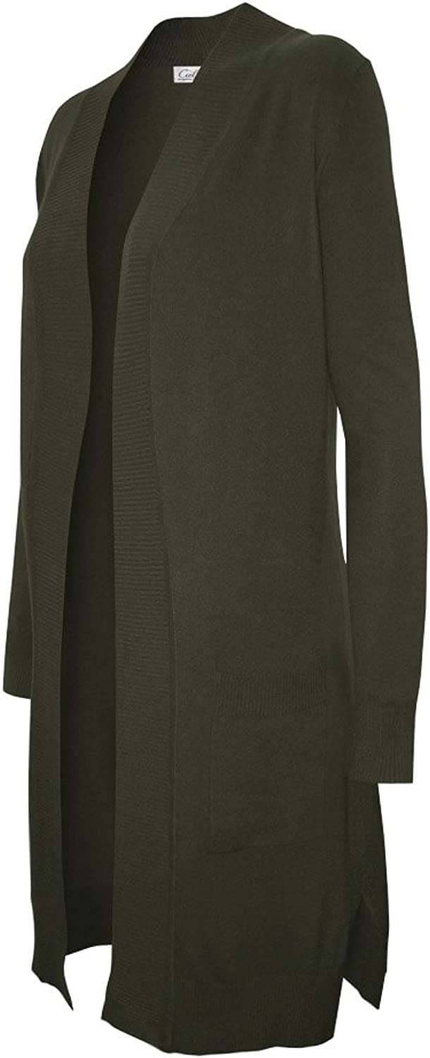 CIELO Women's Solid Basic Long Line Open Front Pockets Knit Sweater Cardigan