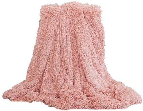Tidwiace weiche, lange Zotteldecke aus Kunstfell, warm, elegant, gemütlich, flauschig, als Tagesdecke geeignet, Fleece, Helles Pink, 160X200 cm