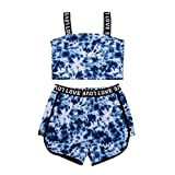 Toddler Baby Girl Outfits,Summer Sleeveless Solid/Floral Ruffle Crop Tops+Elastic Shorts Outfit 2pcs Clothing Set (#12Blue, 9-10 Years)