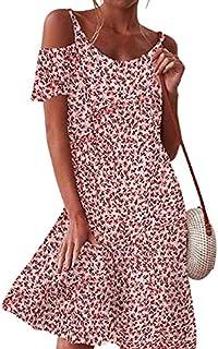 summer dresses for women إمرأة خارج الكتف تونك فساتين فساتين قصيرة الأكمام الكشكشة ميدي متزلج اللباس dresses women (Color...