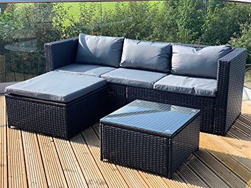 GSD Victoria Rattan Garden Furniture Corner Sofa Lounge Chase Set - Modular 4 Piece In/Outdoor - 3 Colours To Choose From (Black)