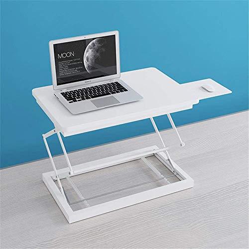 Zixin Gesunde Sit-Stand Desktop-Comput workstatio, Movable Notebook Schreibtisch mit Schiebetastatur, Höhenverstellbarkeit Stehen Schreibtisch RIS -Weiße