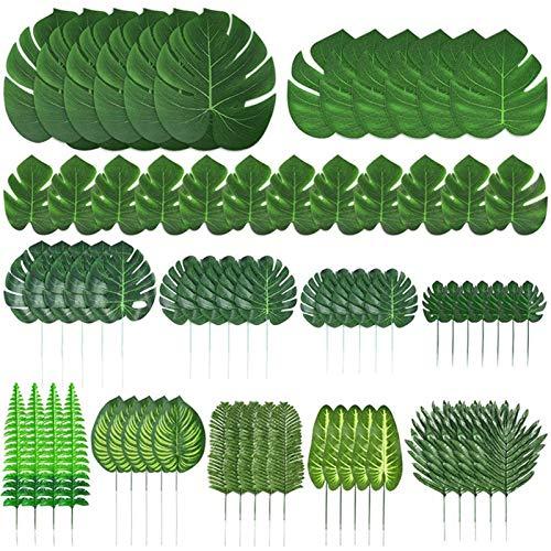 TJYEDUW 103 unidades de 12 tipos de hojas de palma artificiales con tallos de la selva, decoraciones de fiestas, decoración de jardín, decoración del hogar (color verde oscuro)
