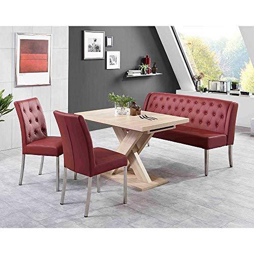 Pharao24 Sitzgruppe mit Bank und ausziehbarem Tisch Rot und Eiche Sonoma