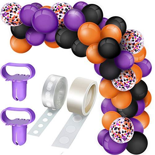 129 Pieces Halloween Balloons Arch Garland Kit, Include Latex Balloons Confetti Balloons Balloon Tie Tools Balloon Strip Tape Adhesive Dots for Halloween Christmas Wedding (Black, Orange, Purple)