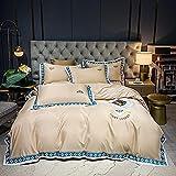 funda nordica cama 150,Juego de cuatro piezas de seda de hielo de doble cara europea, lavado de agua Simulación de seda de seda ropa de cama de lino de la cama de la cama de la almohada regalo-D_Cama